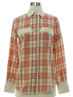 1980's Womens H Bar C Totally 80s Western Style Plaid Shirt