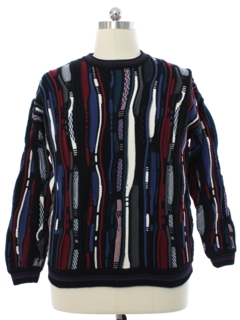 1990's Mens Cotton Traders Wicked 90s Coogi Inspired Cosby Style Sweater