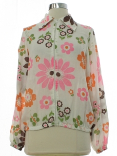 1960's Womens Mod Pow Flower Hippie Shirt Jac Shirt