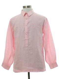 1990's Mens Linen Hippie Style Tunic Shirt