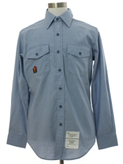 1980's Mens Hippie Western Style Navy Uniform Work Shirt