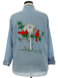 1970's Womens Chambray Appliqued and Embroidered Hippie Shirt