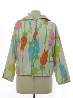 1960's Womens Mod Pow Flower Hippie Shirt Jacket