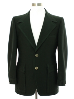 1970's Mens Forest Green Extra Wide Lapel Disco Blazer Sport Coat Jacket