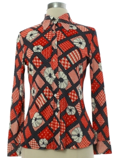 1970's Womens or Girls Mod Pow Flower Print Disco Shirt