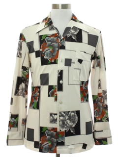1970's Mens Joel Print Disco Shirt