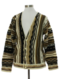 1980's Mens Totally 80s Coogi Inspired Cosby Style Cardigan Sweater