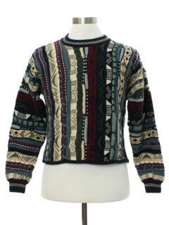 1990's Womens Short Cropped Coogi Inspired Cosby Style Sweater