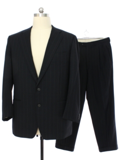 1980's Mens Designer Black Suit