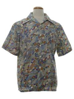 1970's Mens Psychedelic Op-Art Print Disco Shirt