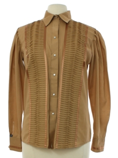 1970's Womens Western Prairie Style Pleated Shirt