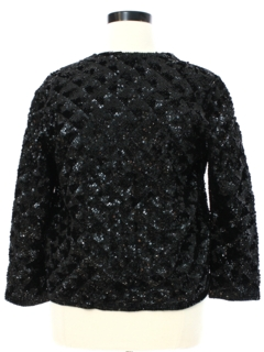 1960's Womens Sequined Wool Cocktail Sweater