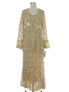 1930's Womens Sequined Maxi Prom or Cocktail Dress