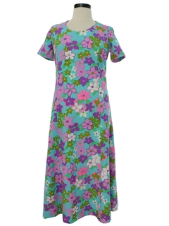 1970's Womens Mod Knit Pow Flower Maxi  Dress