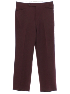 1970's Mens Maroon Mod Leisure Pants
