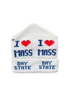 1980's Unisex Accessories - I Heart Massachutses Intarsia Knit Ski Beanie Hat