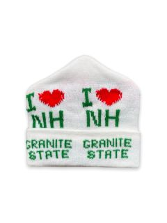 1980's Unisex Accessories - I Heart New Hampshire Intarsia Knit Ski Beanie Hat
