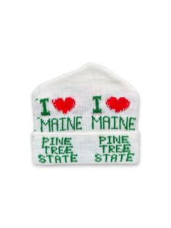 1980's Unisex Accessories - I Heart Maine Intarsia Knit Ski Beanie Hat