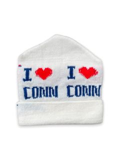 1980's Unisex Accessories - I Heart Connecticut Intarsia Knit Ski Beanie Hat