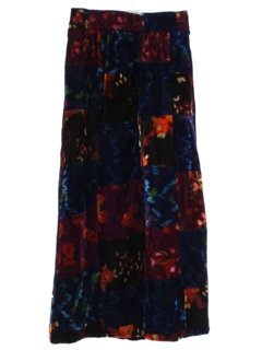 1980's Womens Velvet Patchwork Hippie Maxi Skirt