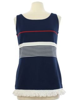1970's Womens Mod Knit Tank Top Shirt