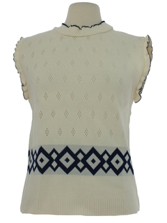 1970's Womens Mod Knit Sweater Tank Top Style Shirt