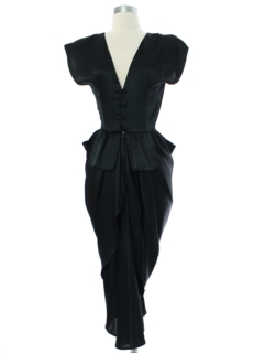 1980's Womens Prom Or Cocktail Asymmetrical Wiggle Dress