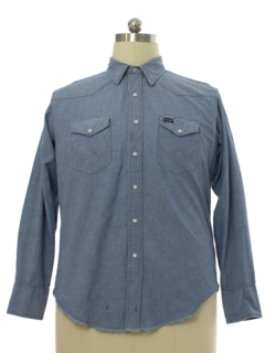 1990's Mens Chambray Grunge Western Shirt
