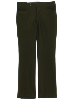 1970's Mens Dark Olive Green Leisure Pants