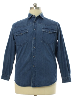 1990's Mens Denim Western Shirt