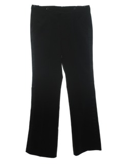 1970's Mens Black Wool Tuxedo Pants