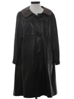 1970's Womens Vinyl Duster Style Coat Jacket