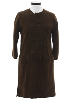 1960's Womens Leather Duster Coat Jacket