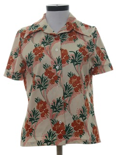 1970's Womens Polyester Print Shirt
