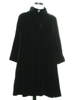 1960's Womens Velvet Duster Coat Jacket