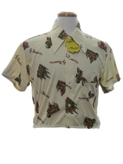 1970's Mens Cropped Print Disco Shirt