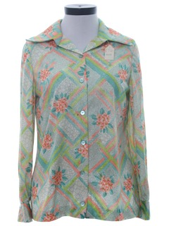 1960's Womens Print Disco Shirt