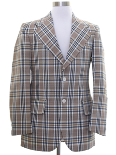 1970's Mens Plaid Disco Blazer Style Sport Coat