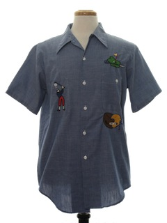 1970's Mens Embroidered Chambray Number One Dad Shirt