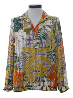 1970's Womens Pleated Print Shirt