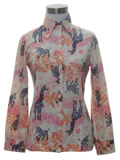 1970's Womens or Girls Print Disco Style Shirt