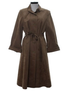 1980's Womens Faux Suede Trench Coat Jacket
