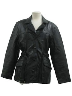 1980's Womens Leather Coat Jacket*