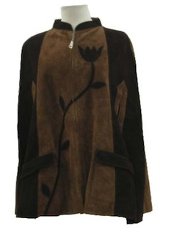 1970's Womens Suede Leather Hippie Poncho Jacket