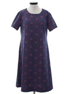 1970's Womens Print Knit A-Line Dress