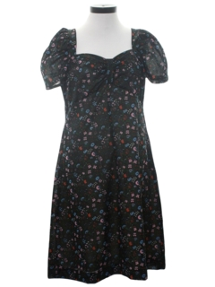1970's Womens Knit Print Dress