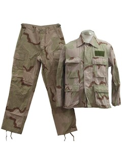 1980's Mens Desert Combat Military Style Camouflage Uniform Suit