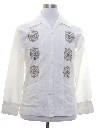 Mens Hippie Style Embroidered Guayabera Shirt