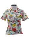 Womens Knit Floral Print Shirt