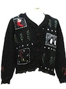 Womens Fringed Totally 80s Look Ugly Christmas Sweater